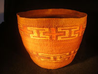 Native American Indian antique Tlingit basket with wonderful geometric bands around the sides, featuring red crosses, c. 1900. Main photo of Tlingit basket.