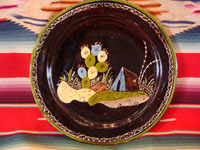 Mexican vintage pottery and ceramics, a blackware plate with wonderful artwork from Tlaquepaque, Jalisco, c. 1930-40's. The plate has a beautiful border and a scene of a lovely house amidst plants and cacti. This is the third Tlaquepaque plate of three, all probably by the same great artist. Main photo.