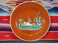Mexican vintage pottery and ceramics, a plate with two lovely bunnies and a wonderful terra cotta background, Tlaquepaque, Jalisco, c. 1940's. Main photo.