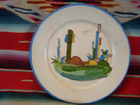 Mexican vintage pottery and ceramics, a plate with a lovely bunny and a wonderful beige background, Tlaquepaque, Jalisco, c. 1940's. The artwork is crisp and very wonderful! Main photo.