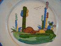 Mexican vintage pottery and ceramics, a plate with a lovely bunny and a wonderful beige background, Tlaquepaque, Jalisco, c. 1940's. The artwork is crisp and very wonderful! Photo of the central scene on the plate.