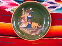 Mexican vintage pottery and ceramics, a lovely green-ware plate with a graceful deer amidst foliage, Tlaquepaque, Jalisco, c. 1930's. Main photo of plate.