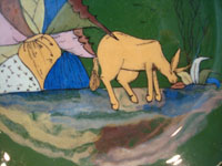 Mexican vintage pottery and ceramics, a lovely green-ware plate with a graceful deer amidst foliage, Tlaquepaque, Jalisco, c. 1930's. Closeup of the deer.