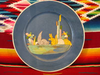 Mexican vintage pottery and ceramics, a lovely blue-ware plate with two playful squirrels, Tlaquepaque, Jalisco, c. 1930's. The artwork is extremely crisp, and the scene is lovely and extremely endearing!