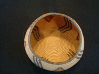 Native American Indian antique basket, a very rare and beautiful Chemehuevi basket in the shape of a graceful bowl, polychrome, and very finely woven, probably from the area near Needles, CA, and Parker, AZ, along the Colorado River, c. 1920. Photo of the inside of the Chemehuevi Indian basket.