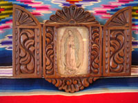 Mexican vintage devotional art and wood-carving, a beautifully carved wooden nicho, with lovely doors and holding a truly beautiful image of Our Lady of Guadalupe, Mexico, c. 1930's. Main photo of the Michoacan nicho.