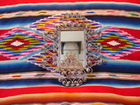 Mexican vintage tinwork-art (tin-art), a beautiful tinwork-art mirror, c. 1940's. The mirror has very fine tinwork-art and is very graceful in shape. Another photo of the Mexican tin mirror.