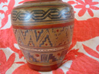 Mexican vintage pottery and ceramics, a wonderful pottery jar with a beautiful patina and Aztec-type geometric designs, Tonala, Jalisco, c. 1930's. Another photo of the side of the jar.