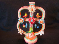 Mexican vintage folk art, and Mexican vintage pottery and ceramics, a tree-of-life candleholder with very beautiful decorations, attributed to the famous Heriberto Castillo, Izucar de Matamoros, c. 1960's. Main photo.