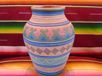 Mexican vintage pottery and ceramics, a pottery vase with pre-Columbian designs (e.g., Mitla, Oaxaca), signed on the bottom with the stamp of the famous Ladislao Ortega, Tonala, 1950's.  Main photo.