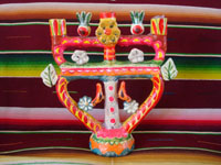 Mexican vintage folk art, and Mexican vintage pottery and ceramics, a very colorful tree-of-life very possibly by the famous artist, Aurelio Flores or a member of his family, Acatlan, Puebla, c. 1940's.  Main photo of the tree-of-life.