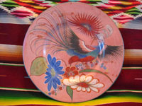 Mexican vintage pottery and ceramics, a burnished charger with fantastic artwork, featuring a lovely bird with outstetched wings and wonderful floral designs, Tonala, Jalisco, c. 1930's. Main photo of the charger.