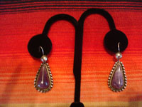 Mexican vintage sterling silver jewelry, and Taxco vintage silver jewelry, a beautiful bracelet and earrings set, with lovely amethyst stones set in silver, Taxco, c. 1930's. Closeup photo of the Taxco silver earrings.