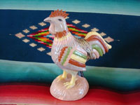 Mexican vintage folk art, and Mexican vintage pottery and ceramics, a beautiful and very endearing pottery rooster with wonderful hand-painted decoration, Tonala or Tlaquepaque, Jalisco, c. 1940's. Main photo of the Tonala or Tlaquepaque pottery rooster.