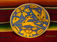 Mexican vintage pottery and ceramics, a stunning Fantasia-ware plate decorated with a graceful leaping deer, Tonala or Tlaquepaque, Jalisco, c. 1930's.  Main photo of front of plate.