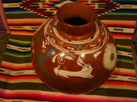 Mexican vintage pottery and ceramics, a lovely pottery jar or olla with wonderful decorations, including a whimsical rabbit, Michoacan, c. 1950's.  Main photo of the pottery from Michoacan.