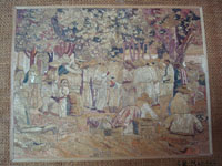 Mexican vintage straw-art (popote art or popotillo), and Mexican vintage folk art, a wonderful straw-art picture of a busy mercado, set under the shade of lovely trees, c. 1930. A closer photo of the main scene.