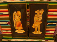 Mexican vintage straw-art, popote art or popotillo, and vintage Mexican folk art, a lovely pair of straw-art paintings depicting a lovely senorita and her dashing partner, c. 1930's. Main photo of the two straw-art pieces.
