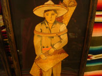 Mexican vintage straw-art, popote art or popotillo, and vintage Mexican folk art, a lovely pair of straw-art paintings depicting a lovely senorita and her dashing partner, c. 1930's. Closeup photo of the man with his lovely sombrero.
