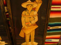 Mexican vintage straw-art, popote art or popotillo, and vintage Mexican folk art, a lovely pair of straw-art paintings depicting a lovely senorita and her dashing partner, c. 1930's. Another frontal view of the man.