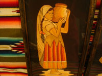 Mexican vintage straw-art, popote art or popotillo, and vintage Mexican folk art, a lovely pair of straw-art paintings depicting a lovely senorita and her dashing partner, c. 1930's. Another frontal view of the woman with her jar.