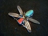 BZ-5: Native American Indian sterling silver jewelry, and Navajo sterling silver jewelry, a silver pin depicting a lovely dragonfly, with coral and turquoise stones, Arizona or New Mexico, c. 1940's. The silverwork is very fine, and the dragonfly is simply stunning! Condition is very good. Size: 1 3/4 inches long by 2 inches wide at the wings. Price: $195. Main photo of the Navajo silver jewelry broach or pin.