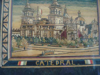 BZ-6: Mexican vintage straw-art, popote art or popotillo, a wonderful scene of the main Cathedral in Mexico City, by the famous popotillo artist, G. Olay (Gabriel Olay), Mexico City, c. 1920-30's.  Closeup photo of the Cathedral.