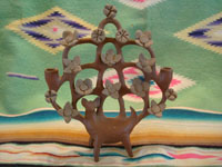 Mexican vintage folk art, and Mexican vintage pottery and ceramics, a lovely burnished tree-of-life (arbol de la vida) candlelabra with lovely decorations and a graceful deer at the base, by the famous folk artist Heron Martinez, Acatlan, Puebla, c. 1950's. Main photo of the tree-of-life by Heron Martinez.