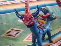 Mexican vintage folk art, and Mexican vintage pottery and ceramics, a ferocious figure of the mythical nagual by the famous folk artist, Candelario Medrano, Santa Cruz de las Huertas, Jalisco, c. 1940-50's. View of the mouth of the nagual.
