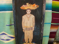 Mexican vintage straw-art, popote art or popotillo, a popote art pair of pictures depicting a man with a basket of fruit on his head and a lovely Mexican woman with her baby held in a rebozo around her shoulders, c. 1930's. Photo of the man.
