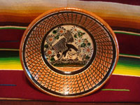 Mexican vintage pottery and ceramics, a beautiful pottery bowl with a petatillo background (cross-hatching, resembling a straw mat, or petate) and very fine artwork, signed Jose Bernabe, Tonala or San Pedro Tlaquepaque, c. 1950's. Main image of the bowl.