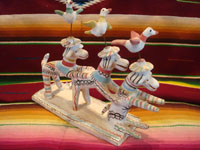 "Mexican vintage folk art, and Mexican vintage pottery and ceramics, stacking or leaning dogs with birdies flying above their hats, attributed to the great folk artist, Heron Martinez, Acatlan, Puebla, his ""white period"", c. 1940's. Main photo of the doggies by Heron Martinez."