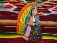 Mexican vintage folk art, Mexican vintage devotional art, and Mexican vintage pottery and ceramics, a pottery figure representing Our Lady of Solitude (La Soledad) on one side, and Our Lady of Guadalupe on the other, Ocotlan, Oaxaca, c. 1980's. Main photo of the figure.