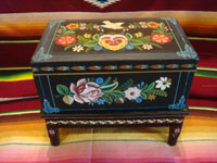 Mexican vintage folk art, and Mexican vintage woodcarvings and masks, a lovely wooden laquer-ware keepsake box with beautiful hand-painted decorations, Olinala, c. 1950's. Main photo of the box.