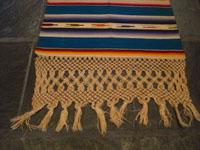 Mexican vintage textiles and Saltillo serapes (sarapes), a magnificent Saltillo serape runner with three lovely medallions and the teneriffe lace or macrome panels, c. 1930's.  Photo of one end of the sarape, showing the lovely lace fringe.