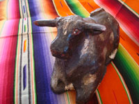 "Mexican vintage folk art, and Mexican vintage woodcarving and masks, a wonderful ""Blessing Bull"", Guerrero, c. 1930's. Main photo of the Blessing Bull from Guerrero."