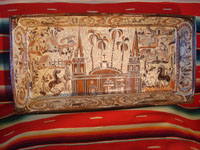 Mexican pottery and ceramics, a large rectangular pottery dish from Tonala, date December 18, 1995. The dish is signed, S. Lucano for the late Santos Lucano Neri, a famous Tonala potter and member of a famous family of potters and artisans. Main photo.