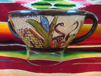 Mexican vintage pottery and ceramics, a beautiful petatillo bowl with two handles and scenes of a donkey and graceful herons, attributed to Balbino Lucano late in his life, Tonala, c. 1940. Photo of second side of bowl.