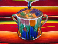 "Mexican vintage pottery and ceramics, a lovely drip-ware lidded bowl, often referred to as Mexican majollica, Oaxaca, c. 1930's. The glaze, which appears to be ""dripped"" over the bowl, is thick and very rich. Main photo of dripware bowl."