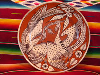 Mexican vintage pottery and ceramics, a lovely charger with a terra-cotta background and two fantasia-style birds, Tlaquepaque, Jalisco, c. 1940's. Main photo of charger.