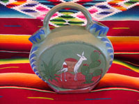 Mexican vintage pottery and ceramics and Mexican vintage folk art, an opaco (flatware) canteen (or wedding vase) with wonderful scenes, from Tonala, c. 1920-30's. Main photo of one side of the canteen.