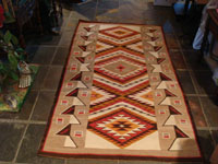 Native American Indian vintage textile, a Navajo rug with incredibly beautiful design elements, probably Red Mesa, c. 1920-30's. Main photo of the Navajo Red Mesa rug.