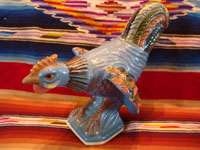 Mexican vintage pottery and ceramics, and Mexican vintage folk-art, a wonderful pottery rooster from Tonala or Tlaquepaque, Jalisco, c. 1930's. Main photo of the Mexican vintage folk-art pottery rooster from Tonala or Tlaquepaque.