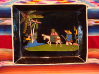 Mexican vintage pottery and ceramics, a wonderful rectangular, black-ware dish with very fine artwork, Tonala or Tlaquepaque, Jalisco, c. 1930's. Main photo of the Tonala or Tlaquepaque Mexican pottery dish.