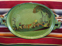 Mexican vintage pottery and ceramics, a beautiful oval platter with a lovely green background and excellent artwork, Tlaquepaque or Tonala, Jalisco, c. 1930's. Main photo of the Tlaquepaque oval charger.