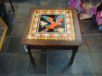 Vintage California tile and ceramics, a rare and extremely beautiful, tile table with a wonderful parrot in the center and an incredibly fine border, California, c. 1930's. Main photo of the California vintage tile table.