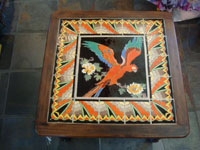 Vintage California tile and ceramics, a rare and extremely beautiful, tile table with a wonderful parrot in the center and an incredibly fine border, California, c. 1930's. A closer photo of the top of the California vintage tile table.