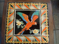 Vintage California tile and ceramics, a rare and extremely beautiful, tile table with a wonderful parrot in the center and an incredibly fine border, California, c. 1930's. Another closeup photo of the top of the California vintage tile table.