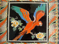 Vintage California tile and ceramics, a rare and extremely beautiful, tile table with a wonderful parrot in the center and an incredibly fine border, California, c. 1930's. A closeup photo of the parrot at the center.