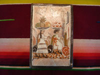 Mexican vintage pottery and ceramics, three pottery tiles with wonderful scenes of Mexican village life, Tonala or Tlaquepaque, Jalisco, each signed on the back by Nicolas Lucano (son of the very famous Balbino Lucano), c. 1970's. Closeup photo of the front of one of the tiles.